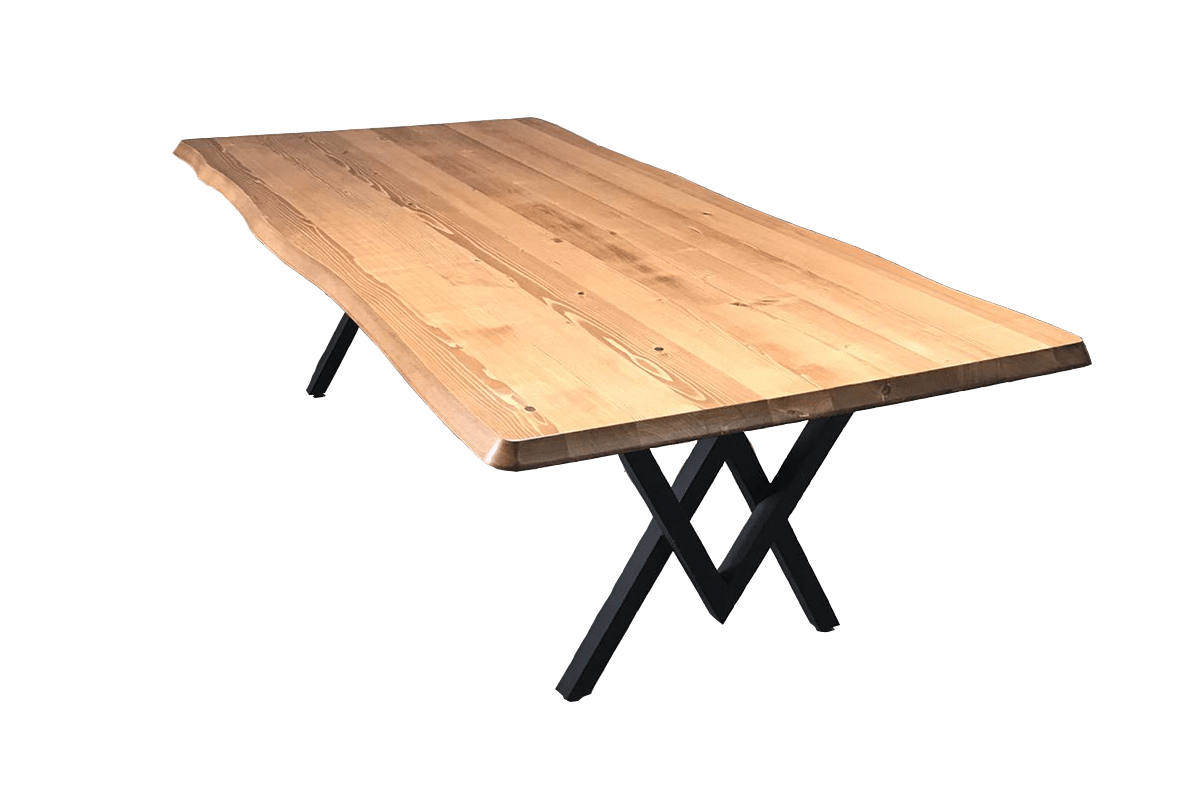 Demir Ayaklı Doğal Ağaç Masa