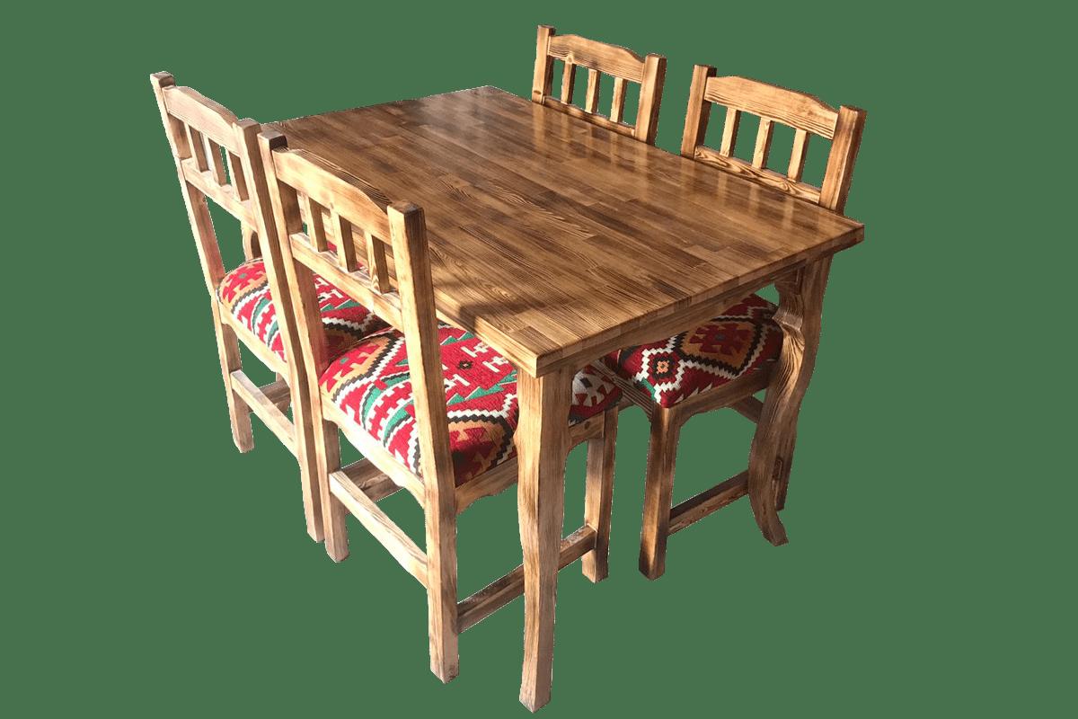 4 Kişilik Ahşap Masa Sandalye Takımı